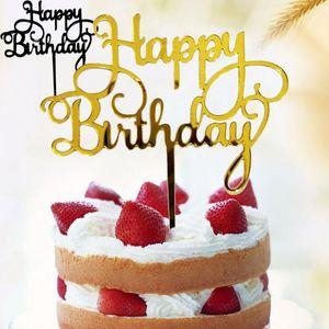 Decor Festa de aniversário feliz Decoração do casamento criativo Bolo Topper Acrílico Suprimentos bolo decoração do partido cartão de bandeira aniversário