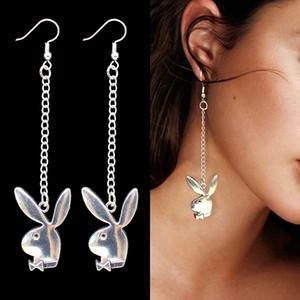 Mode 20Pair plaqué argent tête lapin mode oreille chaîne Pendants d'oreilles lapin partie accessoires bijoux club wear boucle d'oreille déclaration l