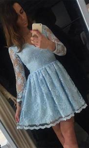 Elegant Lace Homecoming Dresses Cheap V Neck Long Sleeves Cocktail Party Dresses Zipper Back Sweet 16 Graduation Dress