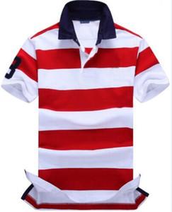 면 짧은 소매 남성 스트라이프 티셔츠 큰 말 자수 미국 디자인 캐주얼 남성 티셔츠는 티셔츠 클래식 폴로 셔츠를 그린 탑