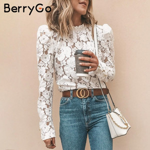 BerryGo Vintage lace women shirt Sexy hollow out Bordado Blusa branca blusa Chic puff sleeve mesh office Ladies Blusas MX200407