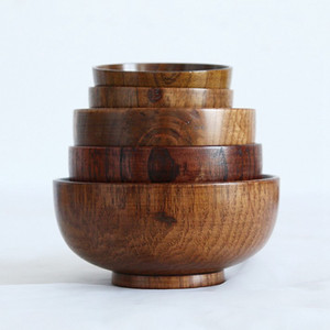 10.5cm 11.5cm 13cm Wooden Bowl Tapanese Soup Rice Noodles Bowls Kids Lunch Box Kitchen Tableware For Baby Feeding Food Containers DBC BH3819