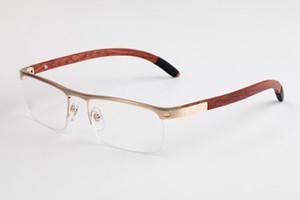 Óculos de luxo Semi-Rimless Moldura De Madeira Retro Vintage Óculos designer eyeware Para O Homem Mulher Top Quality Com Casos e CAIXA