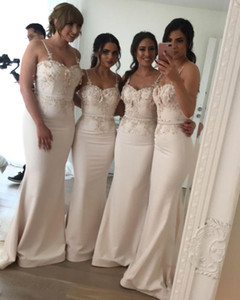 Desgaste Champagne Flowers 3D espaguete Bridemaid vestidos baratos Open Back Mermaid Evening Partido Prom Vestido longo do convidado do casamento BM0612