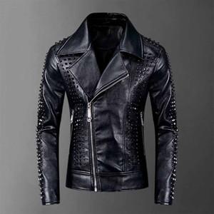 Mens конструктора PU кожаной куртка Motorbiker отложной воротник Молния Slim Fit Пальто Куртка