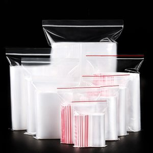 100Pcs Zip Plastic Clasp Bags Transparent Resealable Jewelry   Food Storage Bag Kitchen Frames Display Transparent Bag Zipper Storage Basket