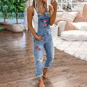 Las mujeres de JODIMITTY holgado de los pantalones vaqueros del estiramiento general delgado jeans rectos Impreso bolsillo Cinturones de primavera y verano más el tamaño 5XL