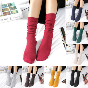 2019 de Moda de Nova listrado longo Stocking Knee Socks Mulheres Cotton Sólidos Casual Coxa alta sobre o joelho