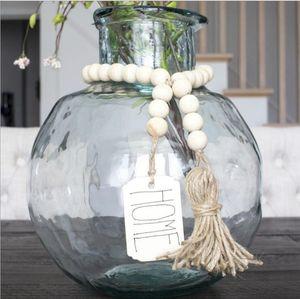 Accueil en bois Garland Ferme Perles de Ferme Décor corde de chanvre de perles en bois Tassel bricolage panneau en bois Pendentif Décoration
