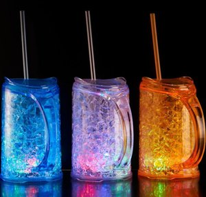 The latest smart LED shiny double-layer plastic straw cup dazzle lamp base can adjust the lighting design, free shipping, support custom log