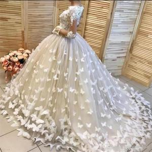 Урожай бальное платье кружева свадебные платья с 3D Цветочные бабочки Аппликация Бисероплетение V-образным вырезом Sexy Иллюзии Длинные рукава свадебное платье