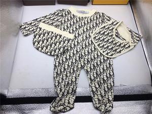 Garçons Baby Girl barboteuses Jumpsuit coton Tops + chapeau + bavoir 3Pcs Vêtements Outfit Set Nouveau-né barboteuse tout-petits vêtements pour enfants (3-24 mois)