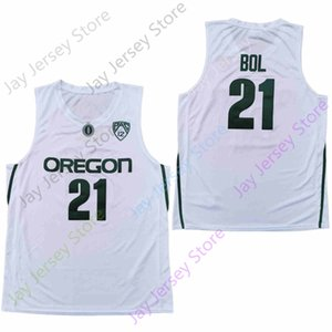 2020 New NCAA College Oregon Ducks Jerseys 21 Bol Basketball Jersey White Size Youth Adult All Stitched