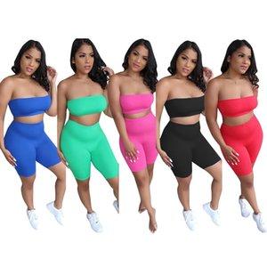 Kadınlar İki Adet Set Seksi Meme Paketleme Üst Şort Tasarımcı Yaz Stretch Straplez Üst Suit Katı Renk Sıkı pantolon Spor Ty5097