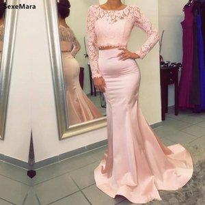 Maniche Due Pezzi Blus rosa raso della sirena Prom Dress completa cerniera posteriore Vintage sera convenzionale Gowns per la principessa