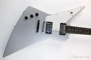 Left-hand Unusual Shaped Electric Guitar with White Pickguard,Silver Body,2019 Pickups,Offer Customized