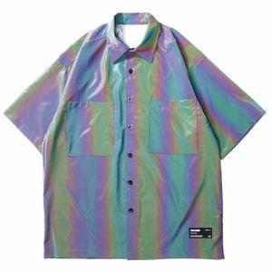 In Stock Erkek Yansıtıcı Gömlek Harajuku AB Renk Hip Hop Gömlek Streetwear 2020 Yaz Plaj Gömlek Gevşek Moda Kısa Kollu Cepleri Tops