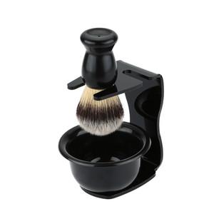 3 Em 1 de Sabão de Barbear + Pincel de Barba + Suporte de Barbear Cerdas de Barba Barba Homens Barba Ferramenta de Limpeza Nova Top presente