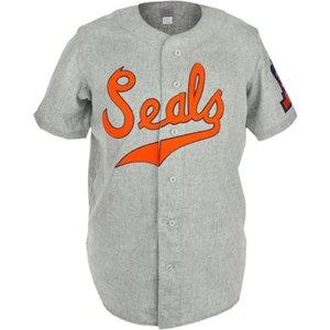 San Francisco Seals 1938 Дорога Джерси 100% Сшитые Вышитые Логотипы Урожай Бейсбол Двери пользовательские Любое имя Любой номер Бесплатная Доставка