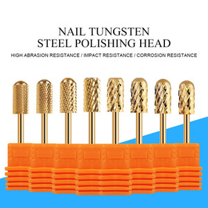 Nail Drill Bit Set Tungsten Steel Gold Color Nail Grinding Head for Manicure Drills Machine Polishing Tool