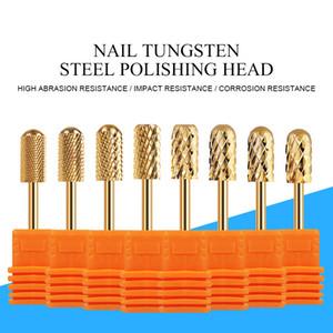 Nail Drill Bit Nail Set Tungsteno Acciaio Oro Colore testa di rettifica per manicure Drills macchina di polacco utensili