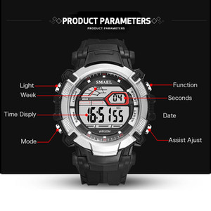 2020 SMAEL Mens Led Watches Digital Clock Alarm Waterproof Led Sport Male Clock Wristwatches 1620 Top Brand Luxury Sports Watches Men