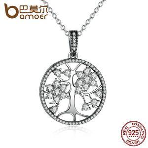 Bamoer klasik 925 ayar gümüş hayat ağacı yuvarlak kolye kolye kadınlar güzel takı sevgililer günü için hediye psn013