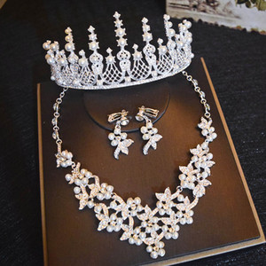 Pearls Crystal Retro Bridal Wedding Crown Necklace Earring Sets Quinceanera Party Jewelry Formal Events Bridal Jewelry Sets Silver