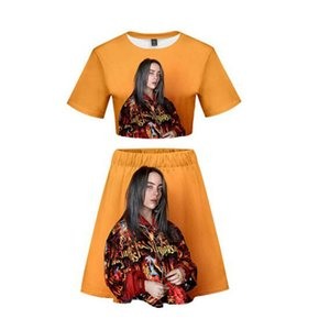 Billie Eilish Idol print Basic 3D Hipster cool Summer kpop Navel Short Sleeve+Short Skirt Casual Sets Women 2 Pic Skirts Set