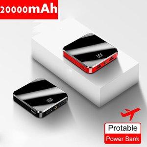 20000mAh Taşınabilir Mini Güç Bankası Ayna Ekran LED Ekran Powerbank Harici Akü Poverbank İçin Akıllı Cep Telefonu