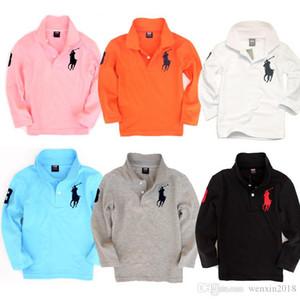 2020 Art und Weise scherzt Polo-Shirt-Kinder-Revers-Kurzschluss-Hülsen-Baby-Polo-T-Shirt Jungen Langarm Marken Stickerei Tees Mädchen Baumwoll-T-Shirts