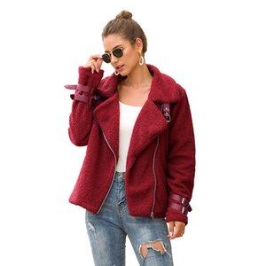 Inverno Casacos Moda Quente Zipper elegante Mulheres Jaquetas Overcoat manga comprida Faux Plush lapela Brasão Casual Brasão