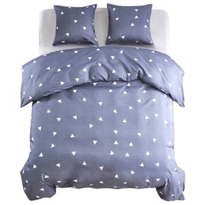 3 pieces duvet cover design triangles 200x200   80x80cm gray Other Home Textile