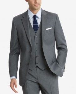 Gri Goorm Smokin Iki Düğme Çentikli Yaka Erkekler smokin damat düğün Slim Fit erkek tasarımcı bahar Üç Adet (Ceket + pantolon + Kravat))