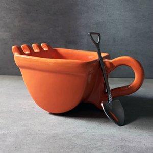 Personalità della benna della tazza di caffè Pala cucchiaio Amusing Ceramica Navvy Tea Cup Verre Crane bocchino Posacenere Tumbler T200327
