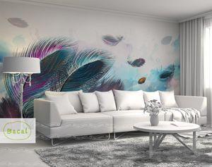 Bacal Benutzerdefinierte Wandbild Tapete 3D Mode Bunte Handgemalte Feder Textur Tapete Für Wände Rolle Wohnzimmer Wohnkultur