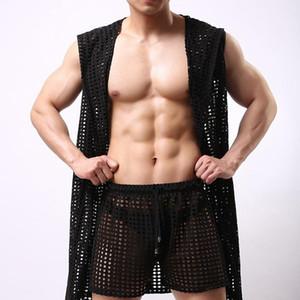 Erkekler fanilalar Kapşonlu Bornoz Uzun Nightgowns Boksörler File pijamalar Gevşek Casual Kolsuz Şeffaf Seksi Gay İç Giyim