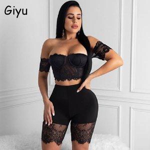 Giyu ganchillo del cordón atractivo de 2 pedazos 2020 mujeres de verano de dos piezas del hombro ahuecan hacia fuera los Crop Tops cortos Negro chándal