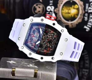 Regalo del reloj de los hombres del deporte del reloj de cuarzo correa de caucho Militar de negocios superior de la marca para hombre Relojes Hombre Reloj del diseño cuadrado reloj cronógrafo de los hombres de