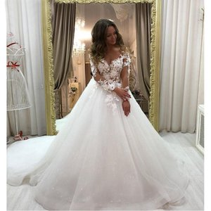 Luxurious Wedding Dresses White Tulle Organza Long Sleeves Floor-length Bridal Gowns A-line Chapel Train Custom Made Robe De Mariee