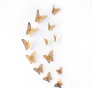 3D бумага бабочка стены стикеры бабочка холодильник для украшения дома 12 шт. / компл. Mariposas украшения 3D бабочка украшения стены стикеры