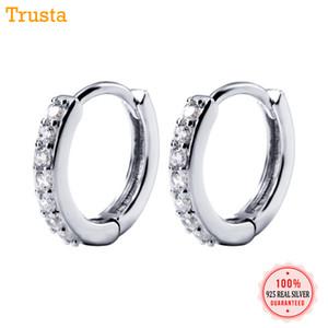 Trusta 100% 925 Real Sterling Silver Hoop Geometric Ear Cuff Clip en los pendientes para las mujeres de la muchacha adolescente Piercing Pendientes Joyería DS953