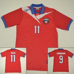 1996 1997 1998 Início de futebol vermelho camisa # 9 ZAMORANO # 11 SALAS Chile Futebol clássico antigo do vintage Jersey Retro Coleção 96 97 98 uniforme