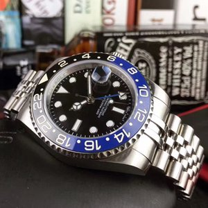 U1 fábrica de calidad superior mecánico automático GMT Negro Azul Batman cerámica Bisel Jubileo Maestro Sapphire Glass 40MM hombres Relojes de pulsera