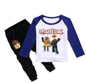 Дети Roblox Game Print Спортивный костюм мальчик футболка + брюки 2шт. Дети весна новый хлопок Топы Тис костюм модная одежда Досуг
