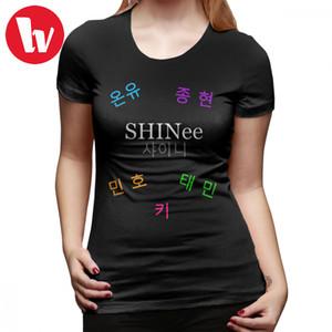 Kpop Shinee T-Shirt SHINee Group Name - Members T Shirt Street Style O Neck Women tshirt 100 Cotton Orange Ladies Tee Shirt