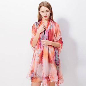 200 * 140 cm Art und Weise Silk Schal-Schal-Frauen-Chiffon- Badetuch Decke Blumendruck Sommer-Sonnenschutz-Wraps Mädchen-Reit Schal GGA3376-3