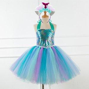 Fille Robe sirène Tulle robe de bal 2020 nouvelle mode d'été Princesse Robes Vêtements robe de bal avec bandeau Fleurs