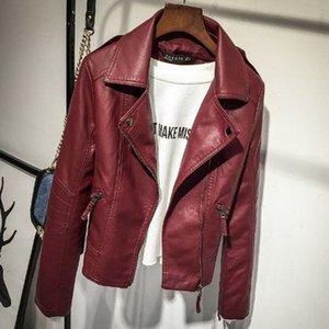 2019 new fashion popular personality Women's Fashion Personality Short-style Korean Leather Jacket in Spring and Autumn