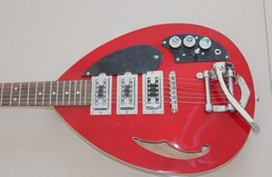 Scala Breve personalizzato Hutchins Brian Jones Vox Teardrop Firma vino rosso Semi corpo cavo chitarra elettrica poco Bigs Ponte, Singolo F Hole
